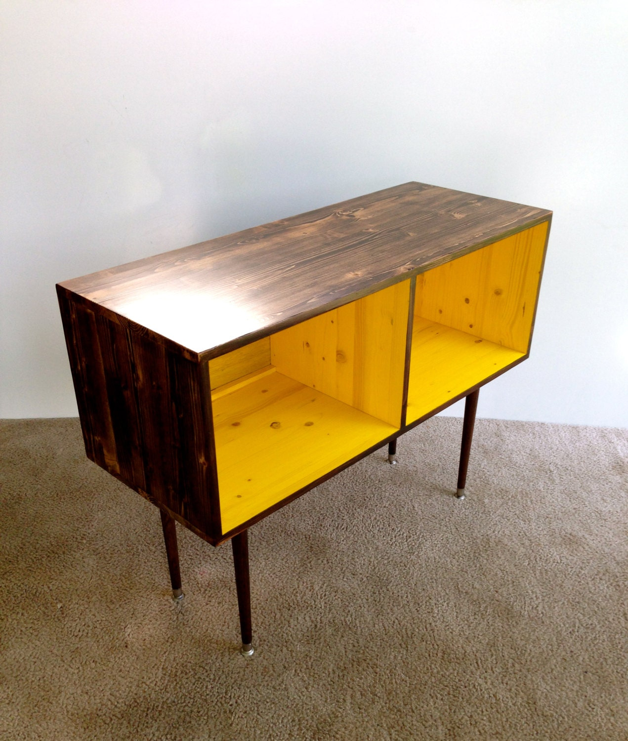 mid century modern record cabinet media table tv stand. Black Bedroom Furniture Sets. Home Design Ideas