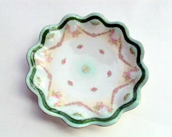 "Vintage Moritz Zdekauer Plate,MZ Austria,1880s, Antique Porcelain,Rose Garland,Scalloped,Marked,Sandwich 7 1/2"", Dining, Green Pink White"