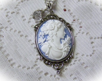 Butterfly Goddess Cameo Necklace with Crystal -  Wedgewood Blue - Neo Victorian - Dragonfly - Blue Goddess - Southern Belle - Jane Austen
