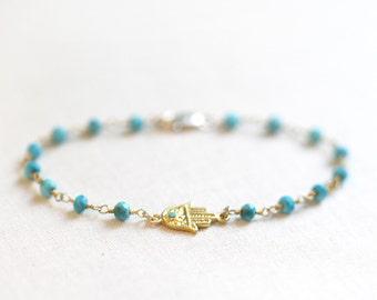 Hamsa Bracelet | Turquoise Beaded Hamsa Bracelet | Rosary Style Bracelet | Turquoise and Gold Bracelet