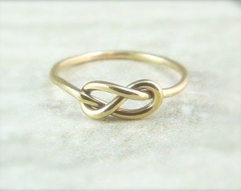 Gold Knot Ring / Promise Ring / Ready To Ship Size 8.5 / Gold Infinity Ring / Mother Daughter / Bridesmaids Gift / Tie the Knot Ring
