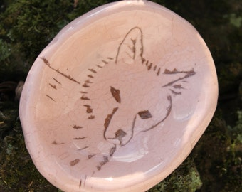 Fox on Pale Pink Pinch Pot -- Original Art by Lora Shelley