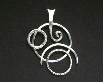 Sterling Silver Geometric Contemporary Pendant