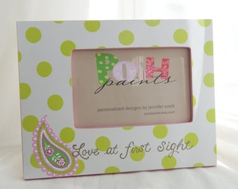 NEW polka dots and paisley hand painted picture frame, displays 4x6 photo, personalize it