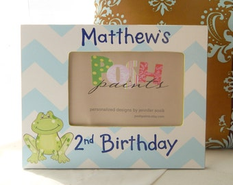 What does a frog say, hand painted 4x6 photo frame