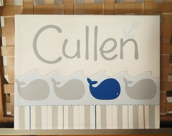 NEW Whales and stripes,hand painted name canvas, large 11x14