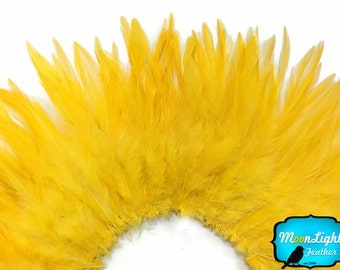 Rooster Feathers, 4 Inch Strip - YELLOW GOLD Strung Chinese Rooster Saddle Feathers : 566