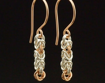 14kt Rose Gold Filled and Argentium Sterling Silver Earrings - Wee Maille Byzantine Chainmaille Kit or Ready Made