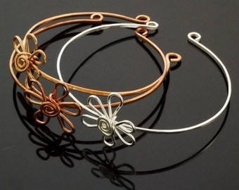 Flower Swirl Bangle - Choose Sterling Silver, Copper, Brass, Bronze, Stainless Steel, 14kt Gold Filled or Solid Gold - Artisan Made