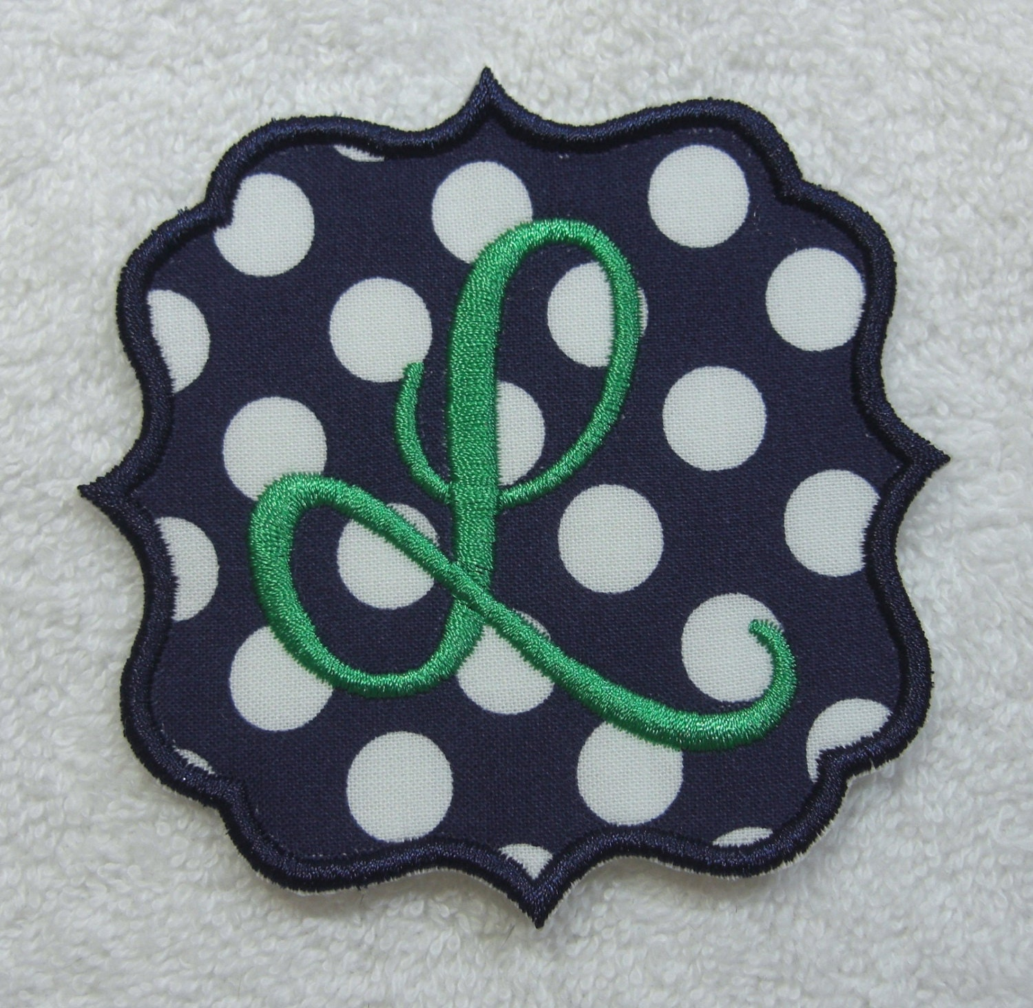 quatrefoil single letter monogram fabric embroidered iron on With monogram fabric letters
