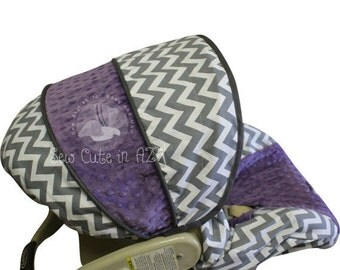 Infant Carseat Cover Gray Chevron with Violet