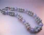 1950s Pale Blue Moonglow Lucite Bead Necklace Choker Vintage Jewelry Jewellery