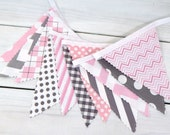 Bunting Fabric Banner, Fabric Flags, Girl Nursery Decor, Wedding, Photography Prop - Pink and Gray Chevron and Gingham