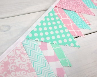 Banner Bunting, Photo Prop, Fabric Flags, Baby Girl Nursery Decor, Birthday Banner - Light Pink, Mint Green, Chevron, Dots, Damask, Flowers