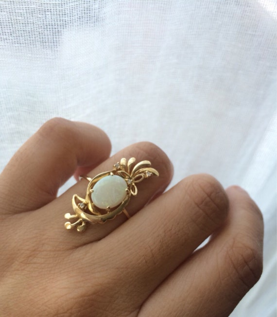 Vintage Opal Ring e of a Kind Opal Ring Opal and Diamond