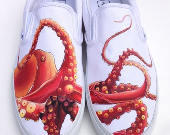 Custom Vans Shoes - Hand Painted Octopus and Koi
