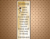 Cat in the Hat Senior Humor Novelty Sign with Gold Background and Funny Dr. Seuss Poem on Aging PM232