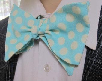 Turquoise Polka Dot Bow Tie