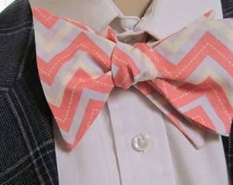 Salmon Pink and Grey Zig Zag Bow Tie