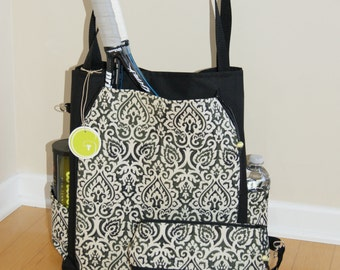 Large Tennis Bag and accessory Bag made of Water proof material-Made to Order.