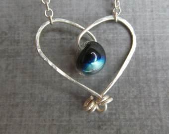 Dichroic Black Heart Necklace, Silver Heart Necklace Black, Black Necklace Silver, Lampwork Necklace Heart, Sterling Silver Wire Heart