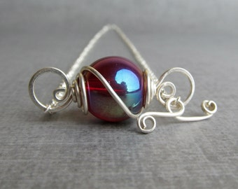 Red Glass Necklace, Sterling Silver Necklace, Wire Glass Pendant, Convertible Red Necklace Silver, Ruby Red Dichroic Glass, Sterling Silver