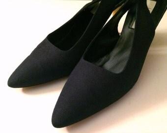 Vintage Shoes Women's 80's I. Magnin, Heels, Sling Backs, Navy Blue, Pumps (Size 10)
