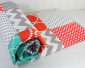 Baby Blanket, Unisex Patchwork Baby Blanket, Gender Neutral Baby Blanket, Photography Prop, Teal Blue, Mint Green, Coral and Gray Chevron