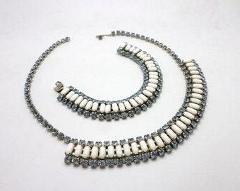 SALE Vintage Light Blue Rhinestone and Milk Glass Necklace and Bracelet Set
