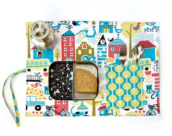 Placemat city design, organic place mat in red, blue and green. Colorful gift for kids