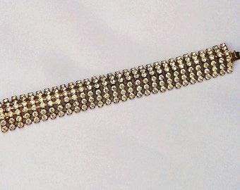 Vintage  Rhinestone Bracelet  6 Rows Silver Tone Setting