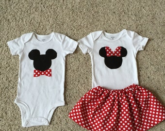 Minnie and Mickey Matching outfits boy girl twins red polka dot size is 12m