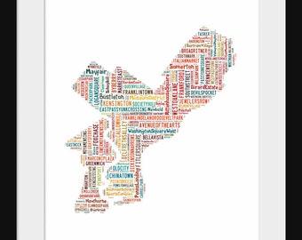 Philadelphia Map Typography Color Map Poster Print