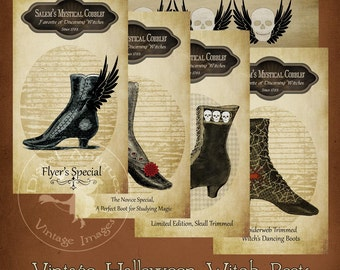 Halloween Vintage Witch Boots Instant Digital Download