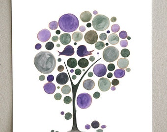 Wedding Gift wall art - Giclee Art Print Reproduction of Watercolor Painting - Purple Love Birds Tree - Trees of Life Collection