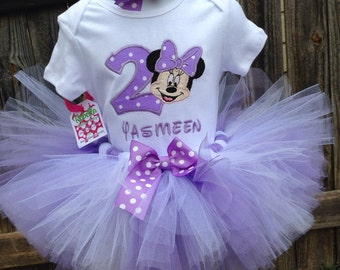Custom boutique monogrammed personalized minnie mouse birthday tutu set Lavender and White