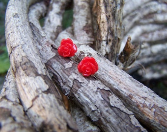 Red Rose and Sterling Silver Posts Earrings