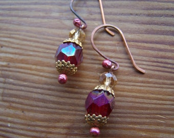 Vintage Cranberry Fuchsia Fire Polished Glass and Copper Earrings