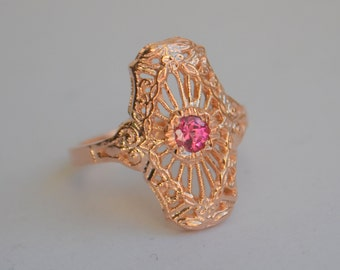 Rose Gold Art Deco Ring, filigree ring, 1930s style jewelry, beaded rings, red gemstone ring, gifts for moms, rose gold antique ring