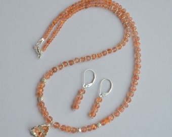 Beaded Oregon Sunstone Necklace with Silver Accents and Free Earrings