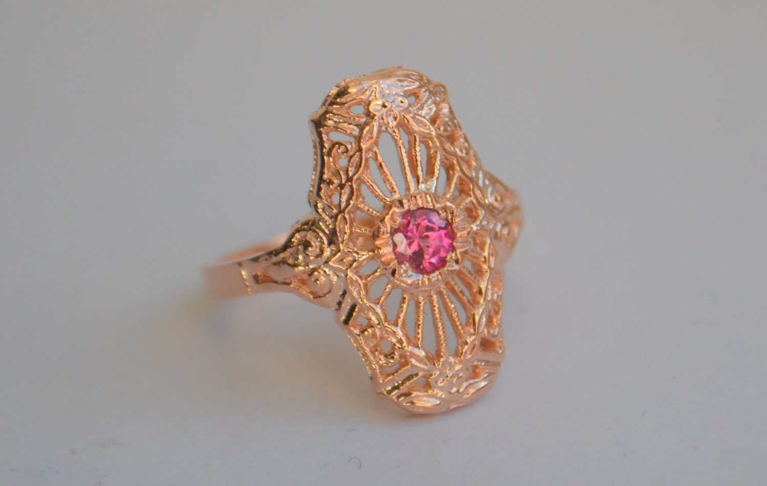 rose gold art deco ring filigree ring 1930s style jewelry