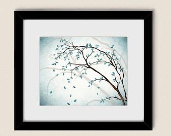 Love Birds in Tree Wall Art, 11 x 14 Aqua Blue Home Décor, Living Room Art, Bedroom Tree Art Print (131)