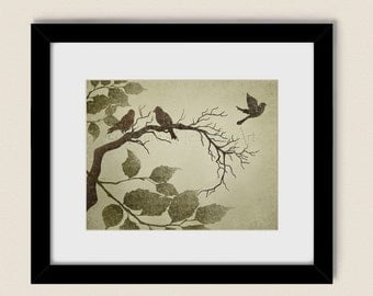 Earthy Brown Bird Wall Art Print 11 x 14, Rustic Nature Home Décor, Tree Branch Leaves (194)