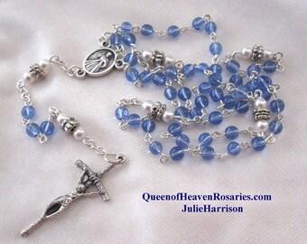 Sapphire Blue Glass Rosary-swarovski pearl trim Rosary/September Birthday Rosary