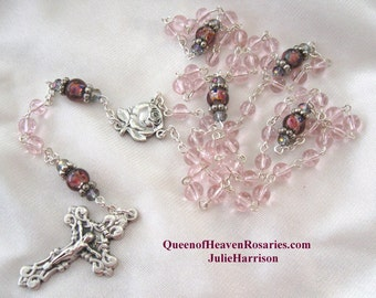 Pink Glass Rosary/October Birthstone Rosary