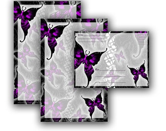 Violet Gothic Butterflies Stationery and Envelope Set - Printable Stationery Digital Download