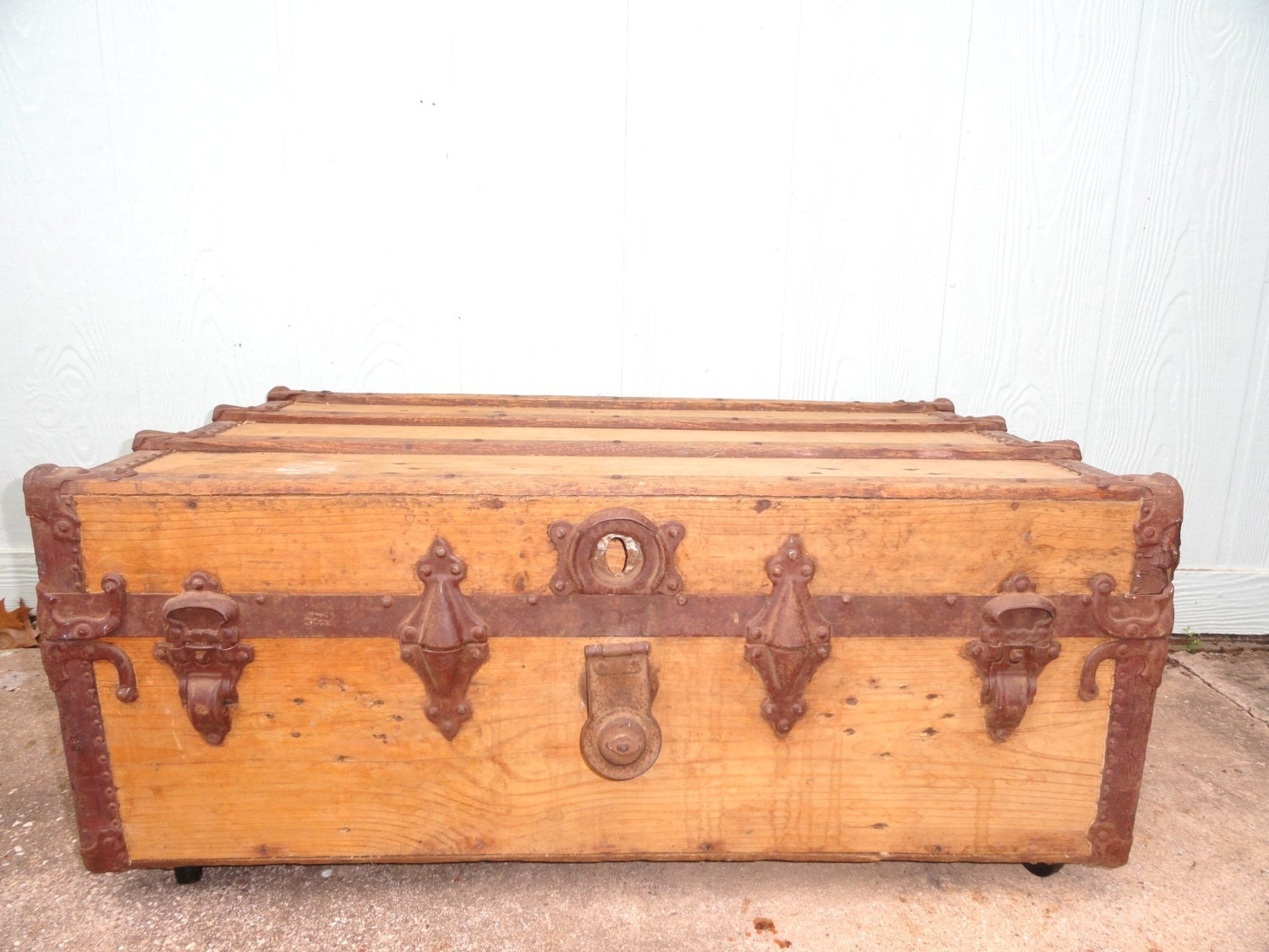 Vintage coffee table trunk box on wheels by bluebonnetfields Antique wheels for coffee table