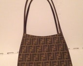 Vintage 90s Fendi Handbag Purse Weaved Logo Fully Lined Gold hardware
