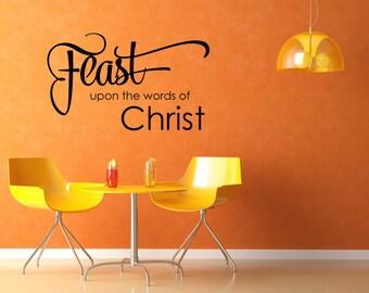 Feast upon the words of Christ.... - wall art vinyl lettering cling sticker,Design Divas 1725