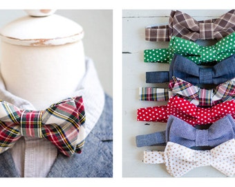 The Beau- boy's Holiday Collection 2015 double stacked bow ties- 7 prints